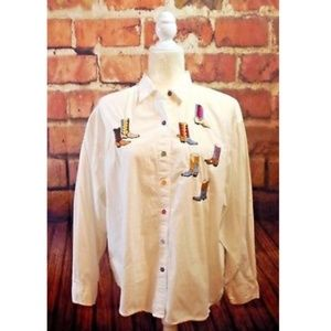 At Last Women's L Embroidered Cowgirl Boots Shirt